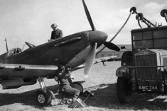 """Spitfire Mk I LZ-N is refuelled at RAF Gravesend in September The aircraft was assigned to S/L Rupert HA """"Lucky"""" Leigh of No 66 Squadron RAF and was downed in combat over Westerham on 17 October, carrying P/O Hugh W Reilley to his death. Air Force Aircraft, Ww2 Aircraft, Military Aircraft, The Spitfires, Old Planes, Ww2 Pictures, Supermarine Spitfire, Battle Of Britain, Royal Air Force"""