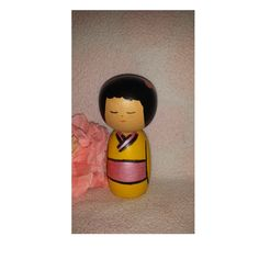 Vintage Wooden Peg Kokeshi Style Doll,  Hand Painted Peg Doll, Turned Wood Doll, Wooden Peg Doll, Geisha Girl Wood Peg Doll, Yellow, Pink by JunkYardBlonde on Etsy