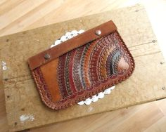 #Vintage Hand Tooled #Leather Clutch #handmade