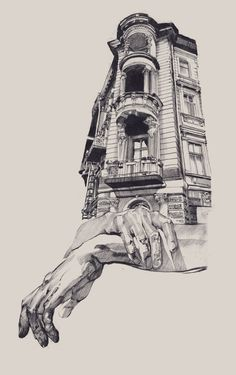 The artist from Odessa in Ukraine Dasha Pliska has created stunning illustrations mixing representations of hands and architectural structures. Creations of gre drawing Architecture Drawings Art Sketches, Art Drawings, Drawings Of Hands, Illustration Art, Illustrations, Architecture Drawings, Drawings Of Buildings, Architecture Artists, Ancient Architecture