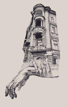 ARCHITECTURE odessa. A series of illustrations by Ukranian artist Dasha Pliska.