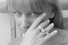 Eccentric Multi Gemstone Ring Sterling Silver Big by SunSanJewelry