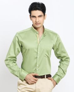 3d9dc534e GREEN CHINESE COLLAR SHIRT Jaihind Retail