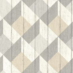 Geometric Wood Panelling Beige wallpaper by Albany