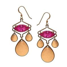ALEX & ANI KASBAH ROSE PINK WIRE EARRINGS NEW RTL $38 RUSSIAN GOLD SPARKLING - http://designerjewelrygalleria.com/alex-ani/alex-ani-kasbah-rose-pink-wire-earrings-new-rtl-38-russian-gold-sparkling/