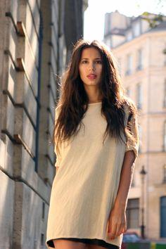 Extra light summer beige bamboo jersey tunic by gonshteynwear