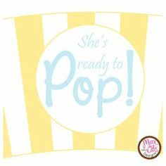Printable #popcorn cupcake wrapper for yellow andblue baby shower themed party