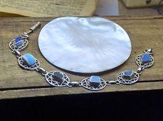 The Calypso Bracelet. Wild & Untamed Refined Opulent. Handmade Wearable art umbled English Sea Pottery antiqued silver art deco links ooak