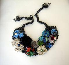 Handmade Grey knit necklace satement  bib necklace by seragun