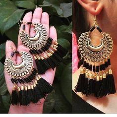 Buy oxidised Earrings at affordable price indian Tassel oxidised Earrings Indian Jewelry Earrings, Indian Jewelry Sets, Jewelry Design Earrings, Indian Wedding Jewelry, Fashion Earrings, Fashion Jewelry, Silver Earrings, Silver Jewelry, Silver Necklaces