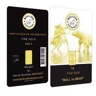 """1 Gram Gold Bullion Exchanges """"BULL vs BEAR"""" IGR .9999 Bar (In Assay)"""