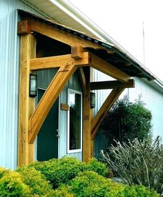 Front Door Overhang, Front Door Awning, Front Door Canopy, Porch Awning, Porch Roof, Wood Front Doors, Diy Porch, Entry Doors, Door Canopy Plans