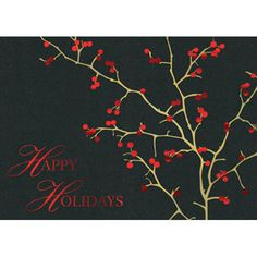 Send your season's greetings in style with a personalized business holiday card.  Personalized greeting cards from On The Ball Promotions are the perfect way to thank customers for their business and wish corporate partners, employees, and business associates a happy holiday season. Choose a holiday sentiment and add your company name, logo, and signatures for a warm and friendly business Christmas card.  This holiday berries card is made from a black felt paperstock with gold foil and red h