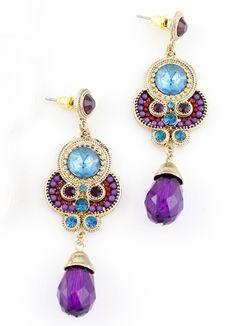 Blue Purple Gemstone Gold Vintage Earrings US$7.18