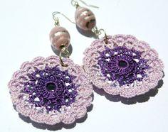 Crocheted Round Violet Earrings  Crochet earring by lindapaula, €11.00