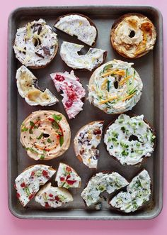 Plain cream cheese is delicious, but why not get a little creative with your breakfast or lunch bagel toppings? Here we have 11 recipes to turn plain cream cheese into a schmear you'll love. We're not just talking about run-of-the-mill cream cheese flavors like scallion or strawberry — these 11 unique mix ins start with pumpkin, progress to pickle, and close with chocolate. These are schmears to kvell over.