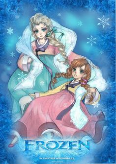 Art trade: Frozen by Kuno-san.deviantart.com on @deviantART - Elsa and Anna wearing Korean hanbok