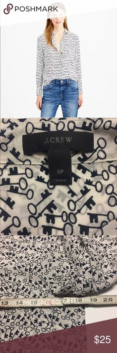 """J. CREW Petite Classic Silk Button Up in Key Print J. Crew Petite Classic Silk Blouse in Key Print. Beige. Has not been dry cleaned yet but in excellent condition. No holes, rips or stains.  Size: 6P 18.5"""" from armpit to armpit. 22.5"""" from shoulder to cuff. 26"""" from the bottom of the collar to the bottom of the shirt.  Here's more info. from J. Crew's website:Petite stretch perfect shirt item B2499 $128.00 Product Details The key to a well-dressed closet—sleek and drapey with a slightly…"""