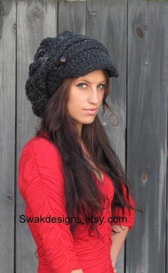 Slouchy Hat Womens Hat Newsboy Cap Two Button Band by SWAKCouture