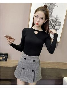 Wholesale price: US$ 10.29 Cheapest The New Fashion Long Sleeves Sets The Bottom Shirt Black
