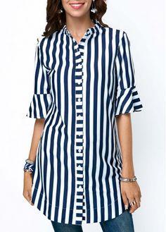 Tops For Women nipsey hussle shirt chambray shirt – tooklly Designer Kurtis, Tunic Designs, Kurta Designs, Trendy Tops For Women, Look Girl, Striped Fabrics, Fashion 2020, Half Sleeves, Shirt Dress