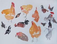 watercolor sketchs   Watercolor sketches of chickens at Loma Vista Farm, nr Vallejo ...