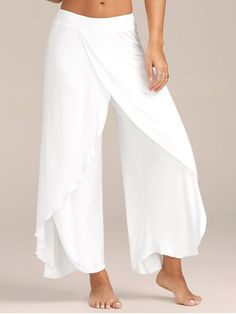 High Slit Flowy Layered Palazzo Pants – White S Mobile - Hosen Wide Leg Yoga Pants, Stretch Pants, Wrap Pants, Diy Kleidung, Pantalon Large, Loose Pants, Split Pants, Flowy Pants, Loose Fit