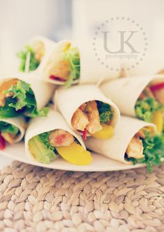Wraps filled with chicken, peach and avocado. Must be so good.