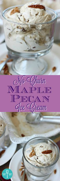 No-Churn Maple Pecan Ice Cream – An amazingly delicious ice cream made without an ice cream maker! Salty and sweet, creamy, and full of maple flavor! | www.worthwhisking.com