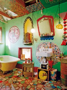 Fun crazy colorful bathroom.