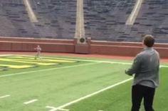 Tom Brady Plays Catch with Son in Michigan Stadium | Bleacher Report