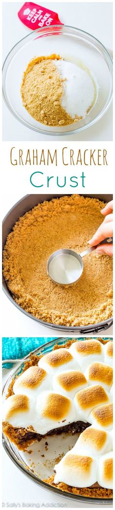 Learn how to make a thick, buttery homemade graham cracker crust with only 3 ingredients. Instructions and recipe on sallysbakingaddiction.com
