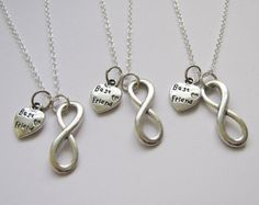 3 Infinity Heart Best Friend Necklaces BFF