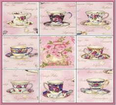 Pink Teacups Roses Fabric