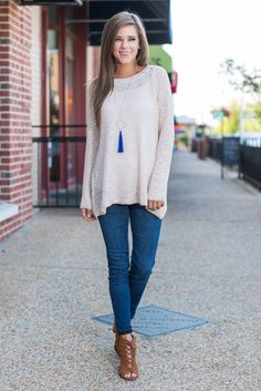 """""""Fall Frequencies Sweater, Cream""""This sweater will set the tone for your fall wardrobe! It's classic and comfy all while being totally trendy! You can layer and style this sweater any way you choose!  #newarrivals #shopthemint"""