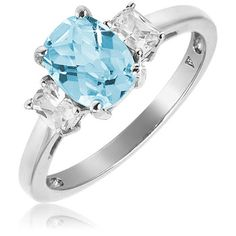 1.2 Carat Blue Topaz Ring in Sterling Silver with CZ Accents
