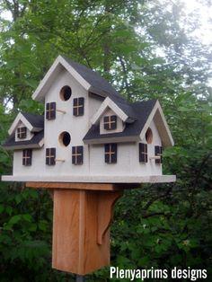 Birdhouse.4 nest folk art primitives bird house.