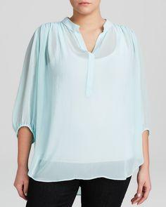 Karen Kane Plus Size Aqua Blue Shirred Blouse | Bloomingdale's  #Karen_Kane #Plus_Size #Aqua #Blue #Shirred #Blouse #Top #Plus #Size #Womens #Fashion #KarenKane #Plus_Size_Fashion #Bloomingdales