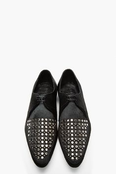 BURBERRY PRORSUM Black STudded Calf-Hair Lace-Up Shoes