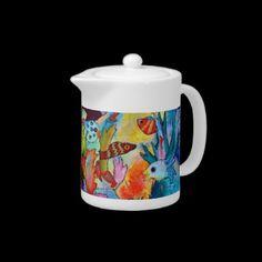 Shop 2152 Fish In Our Garden Teapot created by Passionartz. White Porcelain, Teapot, Tea Time, Tea Party, Fish, Mugs, Tableware, Garden, Prints