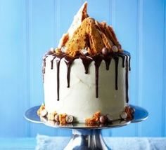 Malted chocolate drizzle & honeycomb cake