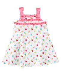Gymboree Ice Cream Sweetie White Pink Cone Bow Dress Size 2T NWT Free Shipping No Slice