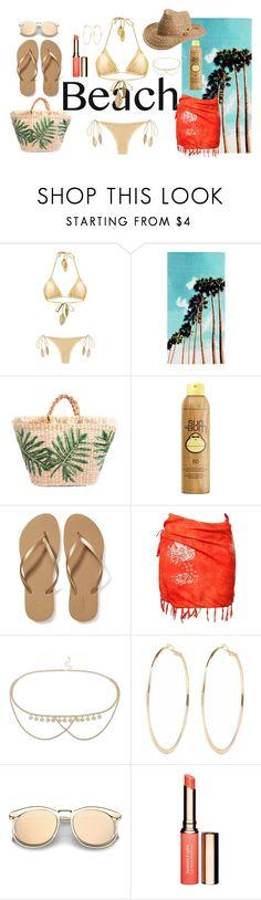 """Beach"" by legoalibri on Polyvore featuring Martha Medeiros, PBteen, Sun Bum, Old Navy, Miss Selfridge, River Island, Clarins and Roxy"