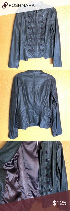 FREE PEOPLE Army Green Military Vegan Leather 10 This is an army green colored vegan leather jacket by FREE PEOPLE. It was worn once or twice and is in PERFECT condition. All buttons are in tact. Size 10, which in my opinion, is equivalent to a size Medium. Fully lined inside. Free People Jackets & Coats