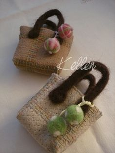 small tote bags with a felt accent