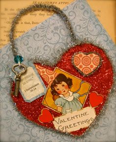 Hand-Made OOAK Vintage Valentine Ornament Holiday Valentine's Day Vintage Little Girl by Mary Charles