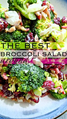 Low Cal & Healthier Broccoli Salad: Turkey Bacon, Light Olive Oil Mayo, Sunflower Seeds, Onions, Dried Cranberries, & Crisp Broccoli!
