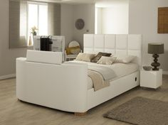 Harvard iAudio - White - 7ft Emperor TV Bed + FREE Delivery & Installation Tv Beds, Antique Beds, Beds For Sale, Beds Online, Wood Beds, Bed Mattress, How To Antique Wood, King Size, Free Delivery