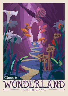Lewis Carroll, Posters Disney Vintage, Vintage Disney Art, Poster Wall, Poster Prints, Christmas Lights Wallpaper, Art Disney, Punk Disney, Disney Movies
