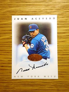 Juan Acevedo: (1997 New York Mets) 1996 Donruss Certified Autograph baseball card signed in black sharpie. (From my All-Time Mets Roster collection.)